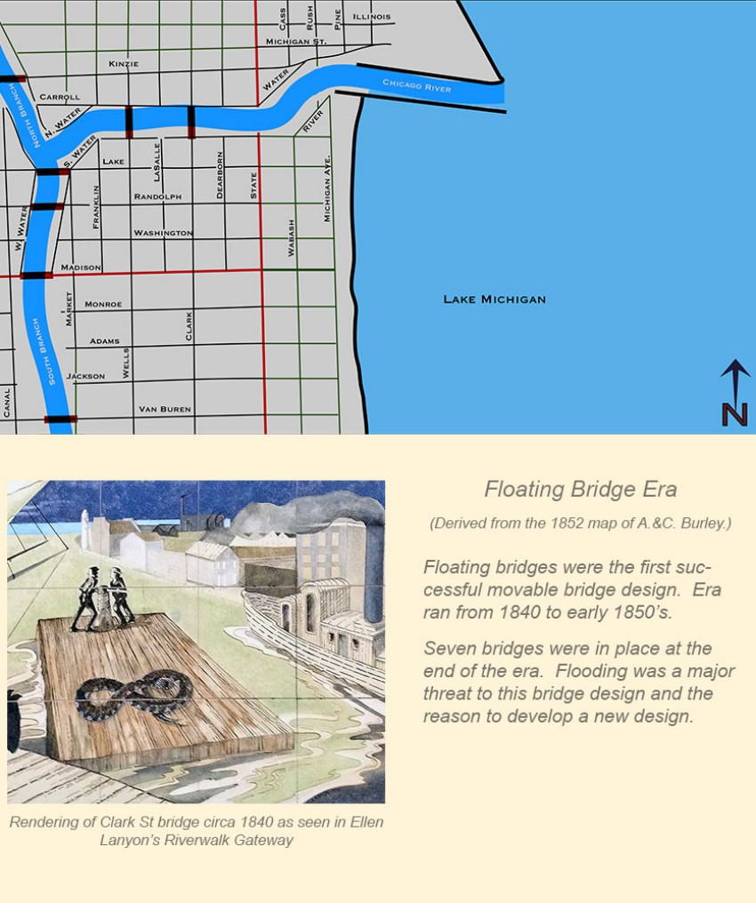 Chicago Movable Bridge Eras In Maps - Chicago flooding map