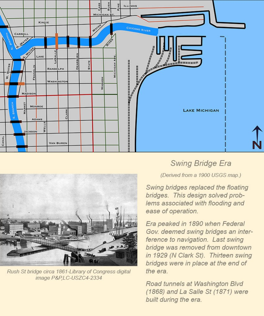 Chicago Movable Bridge Eras in Maps