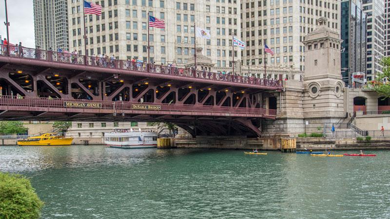 DuSable Bridge at Michigan Ave history