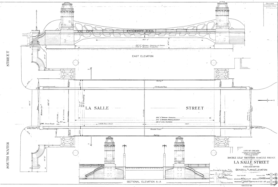Elevation And Plan In Engineering Drawing : N la salle st bridge drawing chicago il