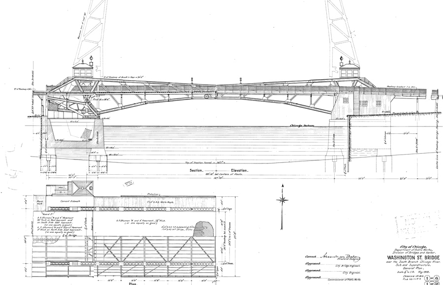 Elevation And Plan In Engineering Drawing : W washington blvd bridge drawing chicago il